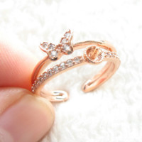 Fashion pearl ring fittings exquisite open mouth regulates the rose gold butterfly