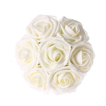 Ivory Artificial Flowers 50pcs Real Looking Roses with Stems for Wedding Bouquets Centerpieces Party Baby Shower Decorations DIY