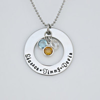 Hand Stamped Stainless Steel - Washer Birthstone Personalized Necklace - Mothers Necklace- Mothers Jewelry