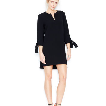 Bar III Three-Quarter-Sleeve Split-Neck Shift Dress