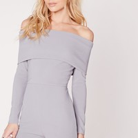 Missguided - Jersey Bardot Long Sleeve Romper Blue