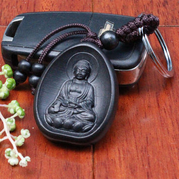 llaveros Creative Personality Car Key Pendant Wood Fashion Black Amitabha Buddha carving Rosewood Buddhist Keychain Holder