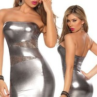 Sexy Gun Metal Silver Bandeau Dress - Extra Large