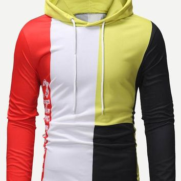 Men Color Block Letter Print Hoodie