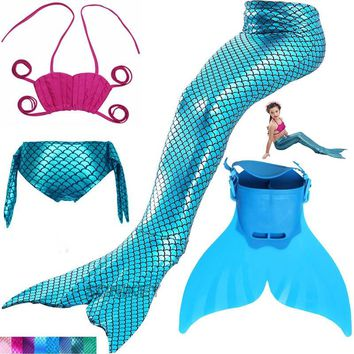 Swimming Mermaid Tail Costume with Monofin Girls Bathing Suit Little Children Ariel Mermaid Tail Cosplay Kids Swimwear Swimsuit