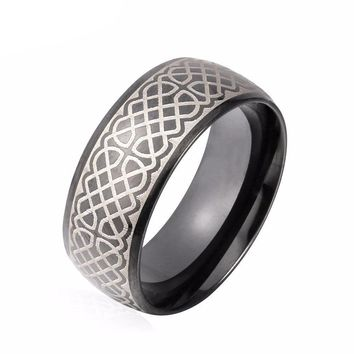 Celtic Braid Etched Black Stainless Steel Band Ring for Men