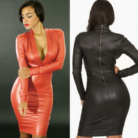 Women Plunging V Neck Long Sleeve Dress Zip Black Vestidos Femininos Faux Leather Bodycon Pencil Party Sexy Dress Clubwear