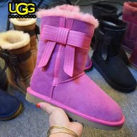 UGG stylish casual lady's wool boots are hot sellers with side bow UGG boots #4