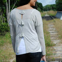SWEATER WEATHER - Bow Back GRAY TOP - Shop Simply Me Boutique – Simply Me Boutique