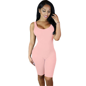 Knee Length Rompers  Sport Jumpsuit Shorts Backless Playsuit Solid Bodycon Jumpsuit Combinaison Short Femme SM6