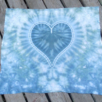 Blue Heart  Hand Dyed Wall Hanging / Tapestry / Scarf - Tie Dye Tapestry - Ice Dye Heart in Blue