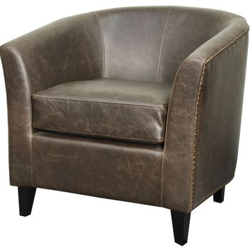 Orson Bonded Leather Tub Chair Black Legs, Vintage Dark Brown