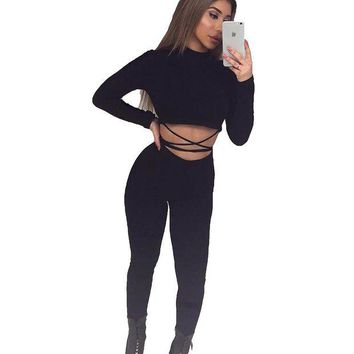 CUPUP9G Nadafair Women Two Pieces Outfit Crop & Long Pants Women Jumpsuit Long Sleeve Black Sexy Skinny Rompers Bodysuit