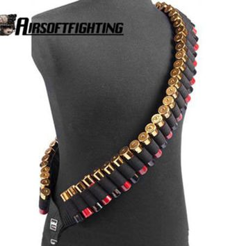 50 Round Shells 12 20Gauge GA Shotgun Bandolier Ammo Holder Airsoft Military Hunting Adjustable Ammo Shotgun Cartridge Belt BK