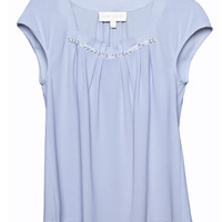 Cooper & Ella Megan Silver Pleat Front Blouse