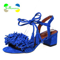 Women Sandals Plus Size 32-43 New Design Ankle Strap Tassel Med Square Heels High Quality Women's Summer Shoes SS197