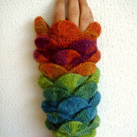 New Winter Season Colors OrangeGreen Honeysuckle Teal  Fingerless Gloves Armwarmers