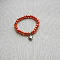 Handmade orange bracelet, orange glass pearl, choose you color, romantic heart jewelry great for wedding, party, bridesmaid, valentine