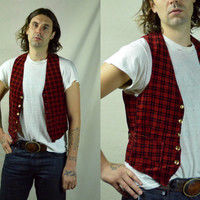 Vintage 1930's Buckle Back Red and Black Plaid Work Wear Style Vest