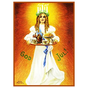 Young Lady Santa Lucia Festival Jenny Nystrom Holiday Christmas Counted Cross Stitch Pattern