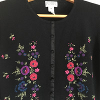 Freeport Studio/LL Bean Black Cardigan Sweater Embroidered Flowers Size M