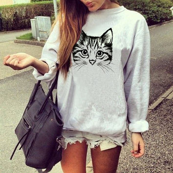 Women Casual Pattern Print Loose Scoop Neck Long Sleeve Top Sweater Pullover