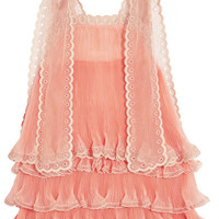 Chloé - Tiered plissé silk-organza mini dress