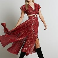 Free People Womens Star Foil Jasper Midi Dress