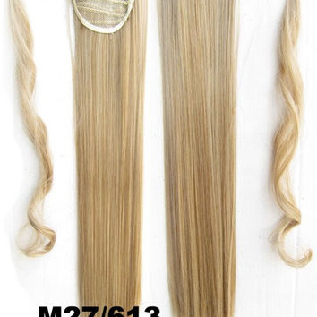 Velcro Wrap Ponytail Hair Extension,Ponytail with band,Ribbon Ponytail,Straight hair,Wig Hairpiece,synthetic hair wig,woman wigs,wig hairs,Bath & Beauty,Accessories BIP-666 M27/613
