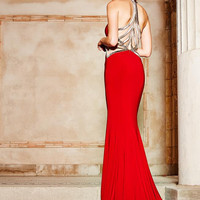 COLORS 1468 Red Jersey Back Accent Prom Dress Evening Gown
