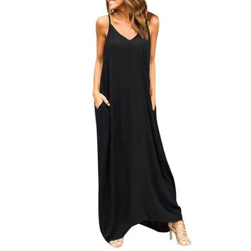 Summer Bohemian Dress Womens Sleeveless Hippie Boho Party Beach PocKet Solid Long Maxi Dress Vestidos