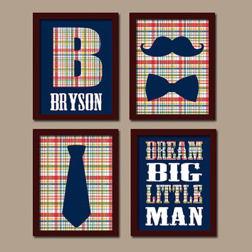 Mustache Bow Tie Wall Art Boy Nursery Madras Plaid Dream Big Little Man Navy Blue Red Green Artwork Monogram Initial Name Set of 4 Prints