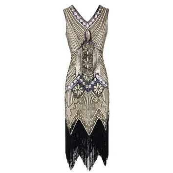 Vintage 1920s Flapper Great Gatsby Dress Summer Fancy Costumes V-Neck Cap Sleeve Sequin Fringe Party Midi Dresses