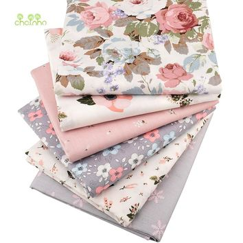 Chainho,Print Twill Cotton Fabric,Warm Pink Floral For DIY Quilting Sewing/Tissue Of Baby&Child/Sheet,Pillow Material,Half Meter