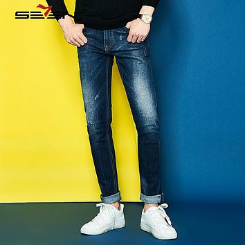 Mens Jeans New Fashion Men Casual Jeans Slim Straight High Elastic Jeans Loose Waist Long Trousers