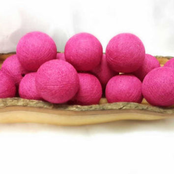 100  bright pink  cotton ball pom pom garland decorative handmade ball display lantern home decor DIY