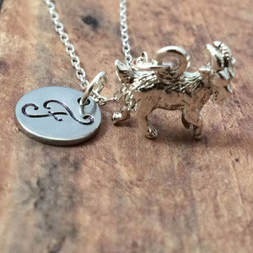 Goat initial necklace - goat jewelry, farm necklace, goat initial necklace, FFA necklace, silver goat necklace, 4H club jewelry, FFA jewelry