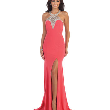 Coral Embellished Halter Open Back High Slit Gown 2015 Homecoming Dresses