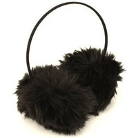 Winter Extra Fluffy Fuzzy Ski Earmuff Ear Warmer Black