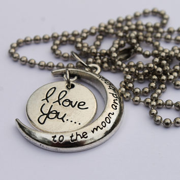 Love You to the Moon & Back Two Piece Circle Necklace