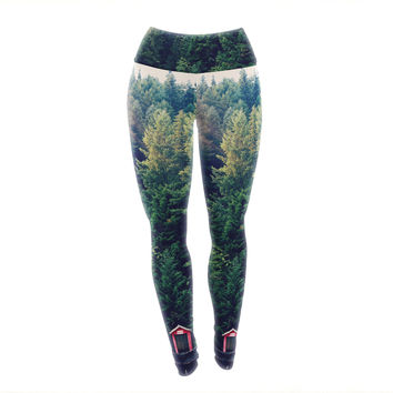 "Robin Dickinson ""Red In Woods"" Forest Yoga Leggings"