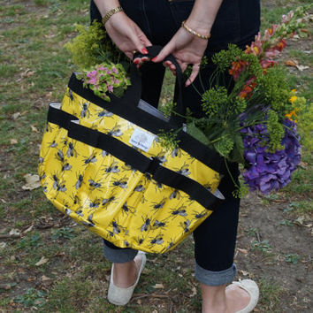 Housefly Tote Bag – Space 1a – Shopper  Bag - Gift for friend - Gift for her – Gift for gardener – Birthday Gift – Travel – Yellow –  Quirky