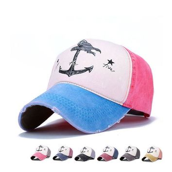New Vintage Snapback Baseball Cap Washed Print Anchor Dad Hats Man Cotton Mix Color Casquette Gorras 5 Panel bone Hats