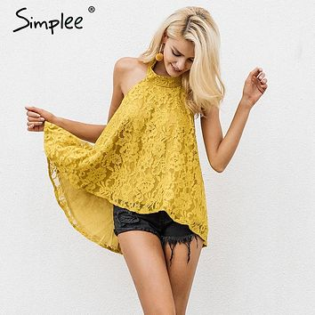 Halter backless lace top Causal cami strapless floral camisole tank top elegant blouse