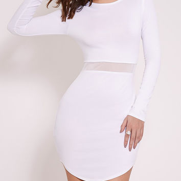 Sexy Long Sleeve Mesh In The Middle Bodycon Dress