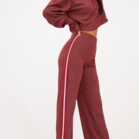 Red Lurex Sport Stripe Wideleg Trousers