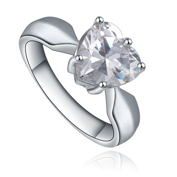 Stainless Steel Heart Shape Cubic Zirconia Solitaire Ring