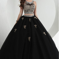 Black Gold Appliques Two Pieces Ball Gown Prom Dresses Long Floor Length Beaded Sparkly Princess Prom Gowns vestido de festa