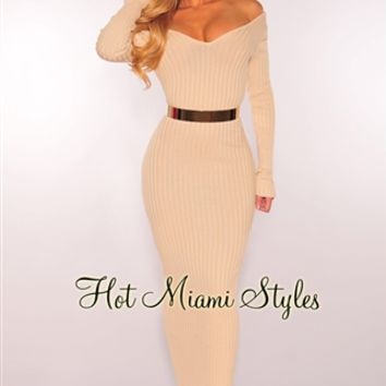 Nude Ribbed Knit Long Sleeves Dress