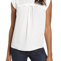 &.Layered Scallop Trim Sleeveless Blouse | Nordstrom